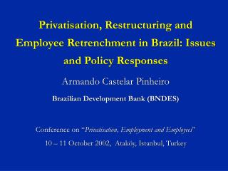 Privatisation, Restructuring and Employee Retrenchment in Brazil: Issues and Policy Responses