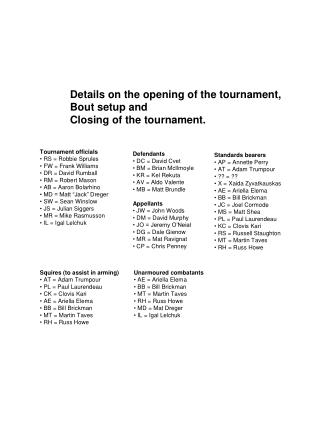 Details on the opening of the tournament, Bout setup and  Closing of the tournament.