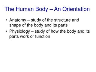 The Human Body – An Orientation
