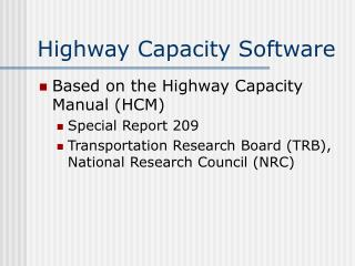 Highway Capacity Software