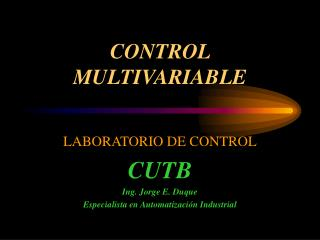 CONTROL MULTIVARIABLE
