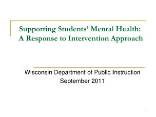 Supporting Students' Mental Health:  A Response to Intervention Approach