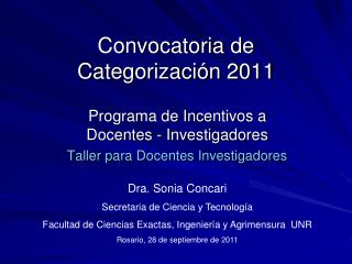 Convocatoria de Categorización 2011