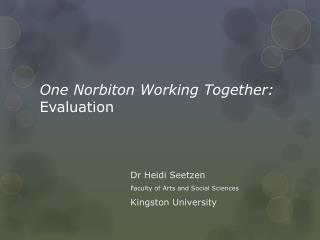 One Norbiton Working Together:  Evaluation