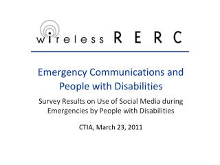 Emergency Communications and  People with Disabilities