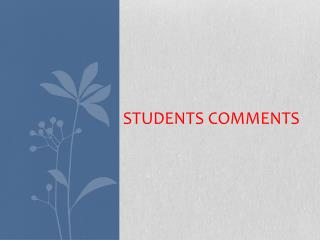 Students Comments