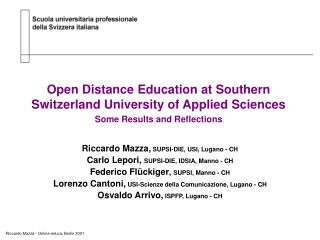 Open Distance Education at Southern Switzerland University of Applied Sciences