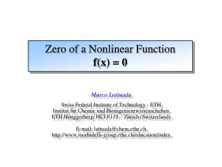 Zero of a Nonlinear Function f(x) = 0