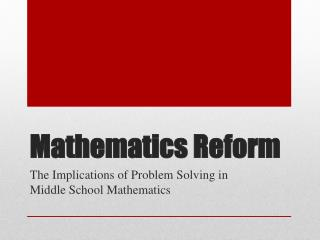 Mathematics Reform