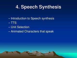 4. Speech Synthesis