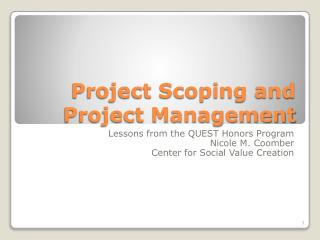 Project Scoping and Project Management