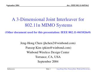 A 3-Dimensional Joint Interleaver for  802.11n MIMO Systems