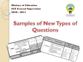 Samples of New Types of Questions