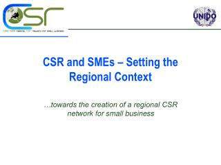CSR and SMEs – Setting the  Regional Context