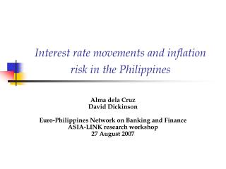 Interest rate movements and inflation risk in the Philippines