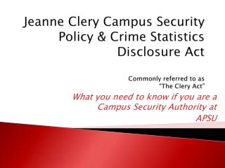 What you need to know if you are a Campus Security Authority at  APSU