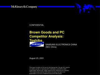 Brown Goods and PC Competitor Analysis:  Toshiba
