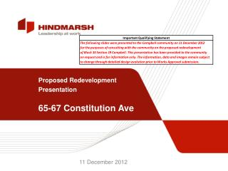 Proposed Redevelopment Presentation 65-67 Constitution Ave