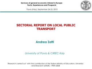 SECTORAL REPORT ON LOCAL PUBLIC TRANSPORT