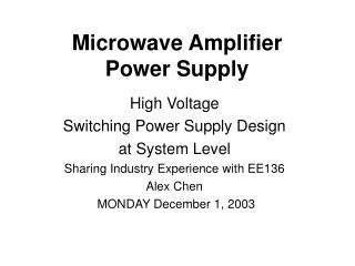 Microwave Amplifier  Power Supply