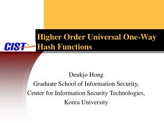 Higher Order Universal One-Way Hash Functions