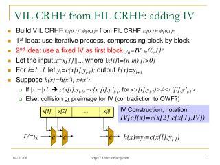 VIL CRHF from FIL CRHF: adding IV