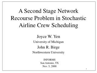 A Second Stage Network Recourse Problem in Stochastic Airline Crew Scheduling