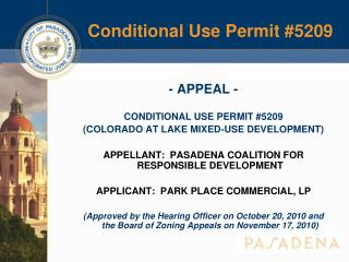 Conditional Use Permit #5209
