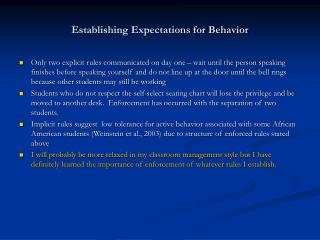 Establishing Expectations for Behavior