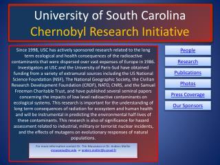 University of South Carolina Chernobyl Research Initiative
