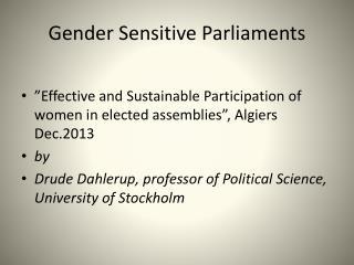 Gender Sensitive Parliaments
