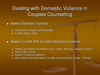 Dealing with Domestic Violence in  Couples Counseling