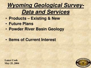 Wyoming Geological Survey- Data and Services