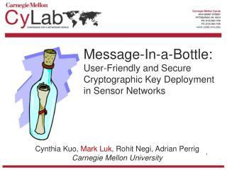 Message-In-a-Bottle: User-Friendly and Secure Cryptographic Key Deployment in Sensor Networks