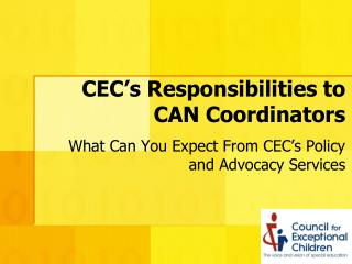 CEC's Responsibilities to CAN Coordinators