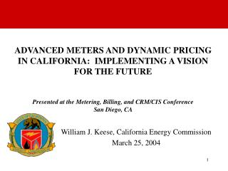 William J. Keese, California Energy Commission    March 25, 2004
