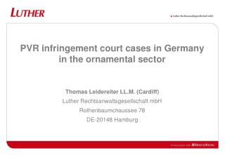PVR infringement court cases in Germany in the ornamental sector