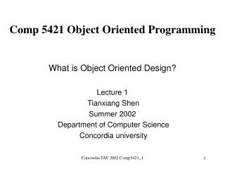 Comp 5421 Object Oriented Programming