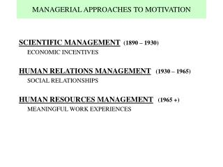MANAGERIAL APPROACHES TO MOTIVATION