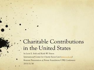 Charitable Contributions in the United States