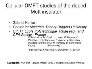 Cellular DMFT studies of the doped Mott insulator