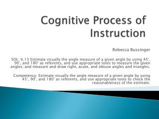 Cognitive Process of Instruction