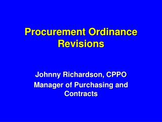Procurement Ordinance Revisions