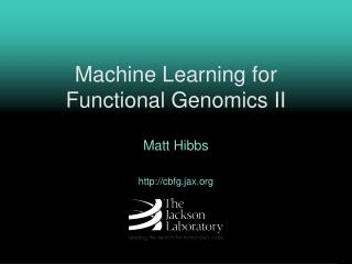 Machine Learning for  Functional Genomics II