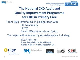The National CKD Audit and  Quality Improvement Programme  for CKD in Primary Care