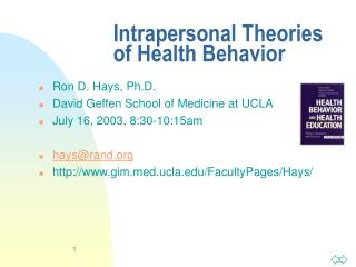 Intrapersonal Theories of Health Behavior
