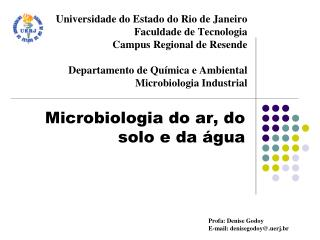 Microbiologia do ar, do solo e da água