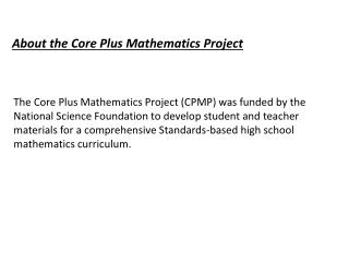 About the Core Plus Mathematics Project