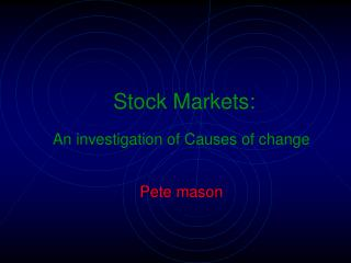 Stock Markets: