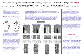 Transcranial Magnetic Stimulation Differentially Affects Speed & Direction Judgments    #4674